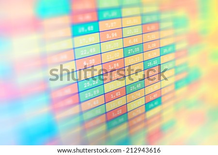 Abstract high tech background with graphs and diagrams. Stock market graph and chart. Data analyzing in forex market: the charts and quotes on display.  Monitor screen shows colorful vivid colors  - stock photo