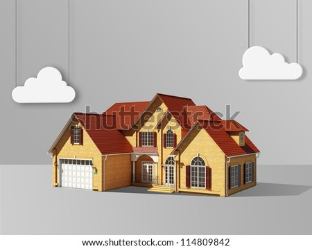 abstract house and white cloud on a gray background