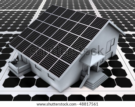 Abstract house model on the solar panels - stock photo