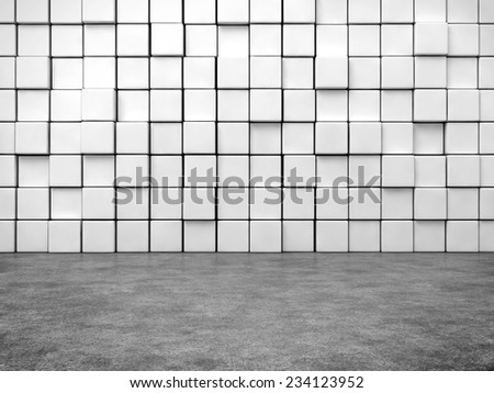 abstract house with cubes wall and cement floor.