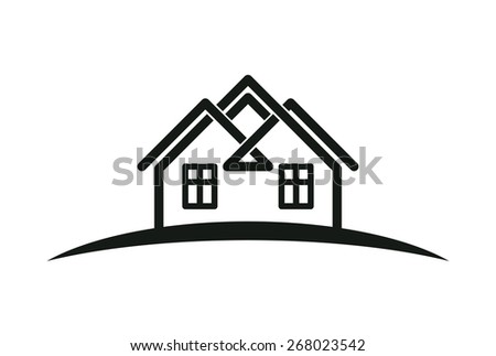 Abstract houses with horizon line. Can be used in advertising and branding as a corporate symbol. Real estate business theme.