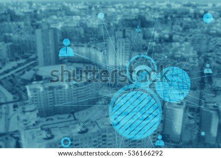 Abstract human connection on the beautiful modern city background.