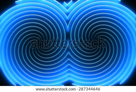 Abstract hypnotic background with double blue neon light spirals - stock photo