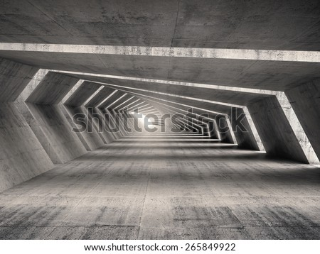 Abstract illuminated empty bent concrete corridor interior, 3d illustration - stock photo