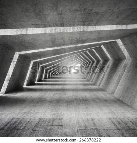 Abstract illuminated empty bent concrete corridor interior, 3d render illustration - stock photo