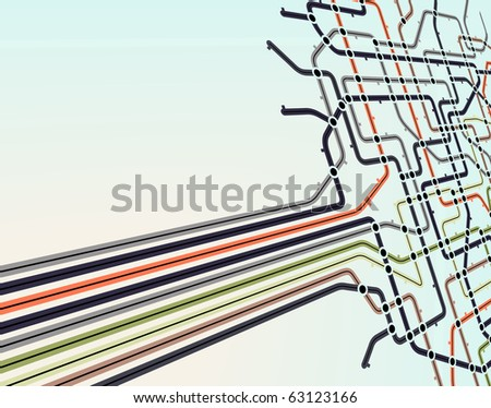 Abstract illustrated background of a subway map - stock photo