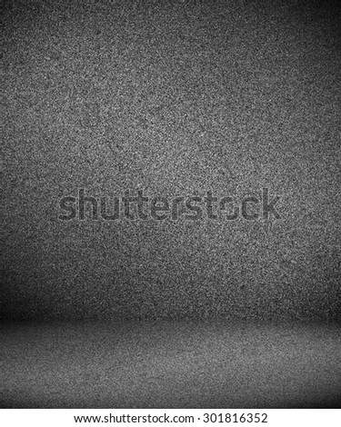 Abstract illustration background texture of an old weathered dark stucco black painted stone cement wall in rural room. Grungy cold rock surface in hard grime empty place with granite dull light floor - stock photo