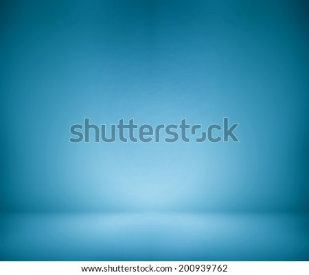 Abstract illustration background texture of beauty dark and light blue, azure, cyan, turquoise gradient wall and flat floor in empty spacious darken room interior - stock photo