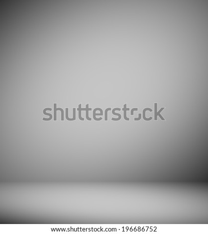 Abstract illustration background texture of light gray and black gradient wall, flat floor, sides from metal in empty spacious room interior - stock photo