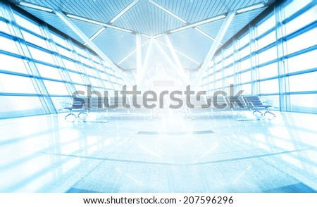 Abstract illustration background texture of wide angle and perspective view to steel blue glass airport ceiling, business concept of successful industrial spacious hallway and passageway architecture