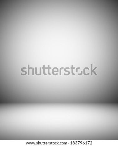 Abstract illustration background texture with light gray gradient wall and floor. Black and white cement interior structure. Steel sides of dark empty room. Successful space for your text and picture. - stock photo
