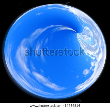 Abstract illustration. Blue sphere with the white texture of the moving clouds.