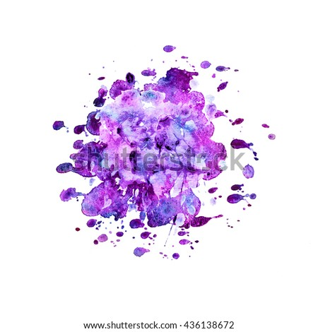 Abstract illustration. Bright color watercolor stain with splashes on white. Background for design. - stock photo