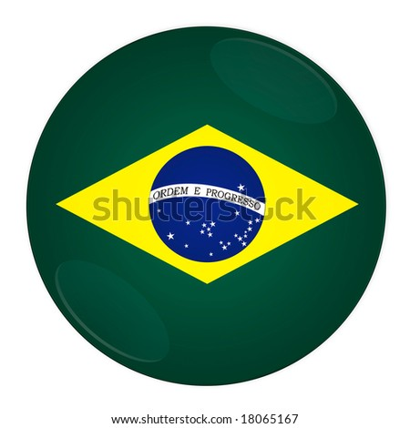 Abstract illustration: button with flag from Brazil country - stock photo