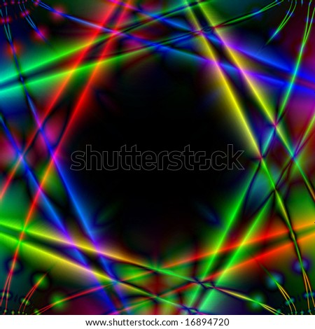 Abstract illustration. Many-colored light rays intersect against the background night.