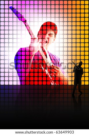 Abstract illustration of a back lit guitar player standing in front of a screen of himself while playing on stage.