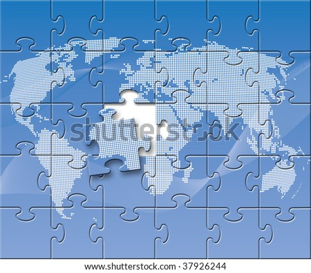 Abstract illustration of a blue puzzled globe - stock photo
