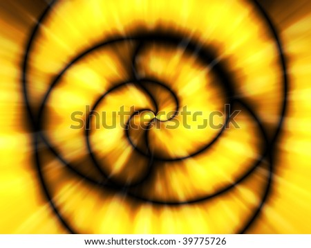 Abstract illustration of a fiery spiral in yellow and black