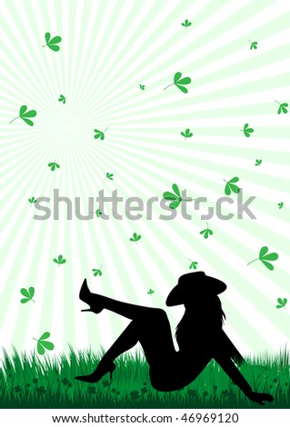 Abstract illustration of a girl laying in the grass