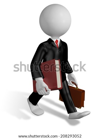 abstract illustration of a running lawyer with a book - stock photo