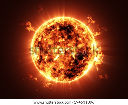 Abstract Illustration of an a Big Sun Star in Space - stock photo