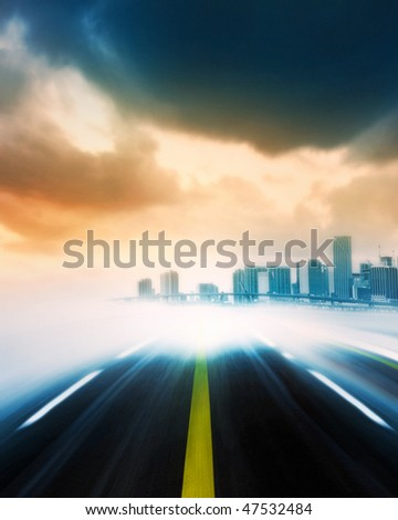 Abstract Illustration of an urban highway going to the modern city at sunset or sunrise - stock photo