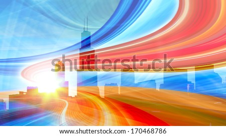 Abstract Illustration of an urban highway going to the modern city downtown, speed motion with colorful light  trails. Chicago image is from my collection. - stock photo