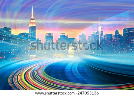 Abstract Illustration of an urban highway going to the modern city downtown, speed motion with colorful light trails. Image of New York City skyline is from my collection. - stock photo