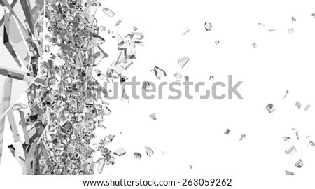 Abstract Illustration of Broken Glass into Pieces isolated on white background - stock photo