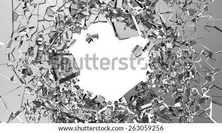 Abstract Illustration of Broken Glass into Pieces isolated on white background with place for Your text - stock photo