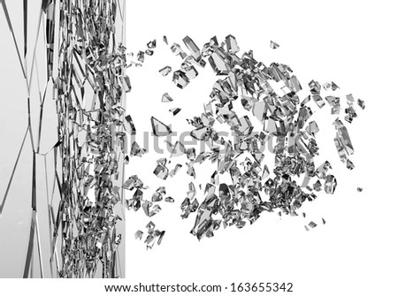 Abstract Illustration of Broken Glass isolated on white background. (Animation for this image see in my footage gallery) - stock photo