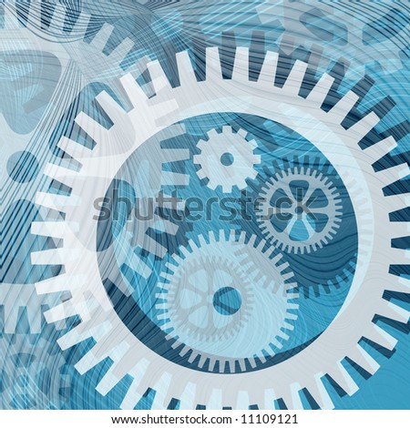 Abstract illustration of cogwheels and lines for backgrounds