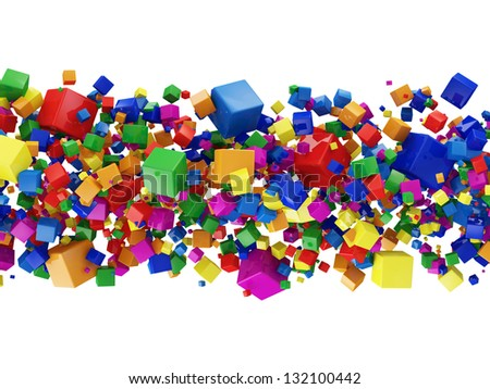 Abstract Illustration of Colorful Cubes isolated on white background