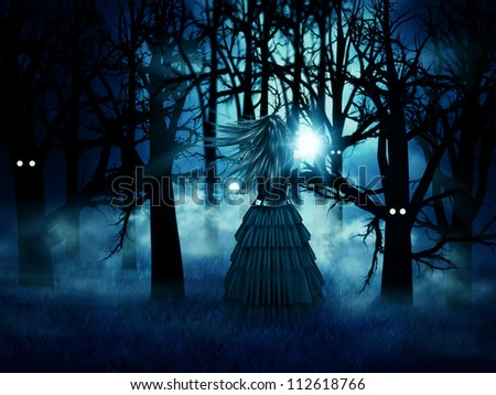 Abstract illustration of dark witch in the halloween forest at night.