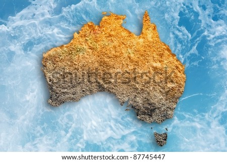 Abstract illustration of drought in Australia. Global warming, climate change, stop global warming, drought monitor, water drought. - stock photo