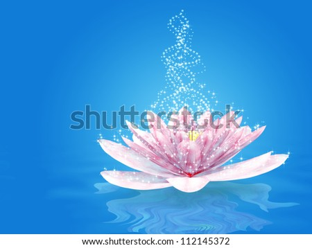 Abstract illustration of magic sparkling lily background. - stock photo