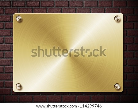 Abstract illustration of metal plate on brick wall background.