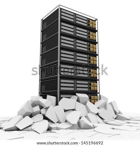 Abstract Illustration of Modern Server Rack Breaking Through From Floor - stock photo