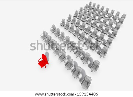 "Abstract illustration of red chair "" leader ""  made in 3d software"