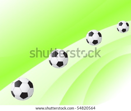 Abstract illustration of soccer balls over green background