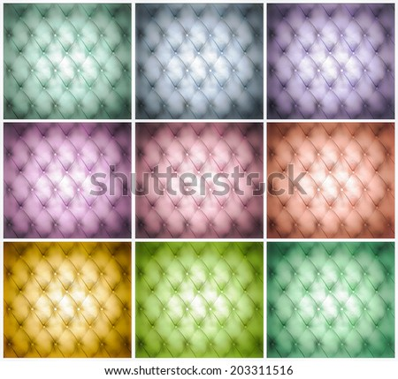 Abstract illustration set background texture of old natural luxury modern style leather with rhombs Classic blue, red, yellow, green grungy skin of retro wall, door, sofa, studio interior with buttons - stock photo