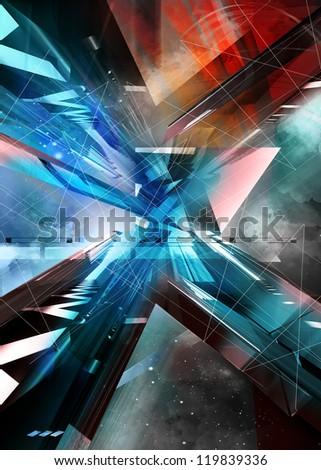 abstract illustration. virtual background. - stock photo