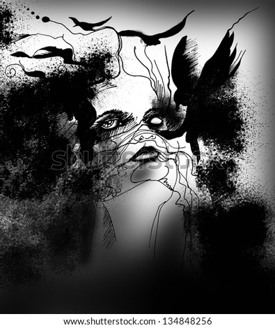 abstract illustration with a woman and crows - stock photo