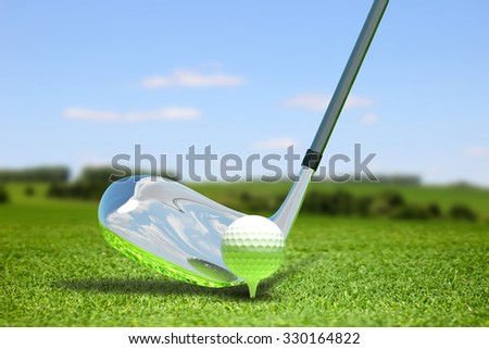 Abstract illustration with ball for golf  - stock photo