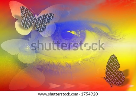 Abstract illustration with binary code butterflies ,eye ,dollar & info signs. - stock photo