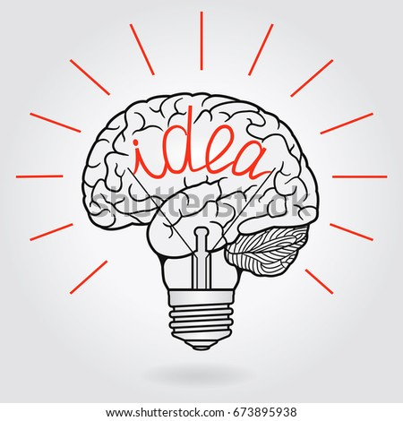 Abstract Illustration With Brain And Light Bulb   Idea, Concept For  Invention And Innovation, Pictures Gallery