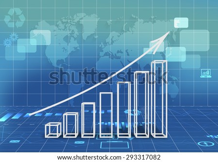Abstract illustration with 3d graphs arrow growth
