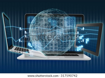 Abstract illustration with laptop and tablet. Digital world map of the global telecommunications network. - stock photo
