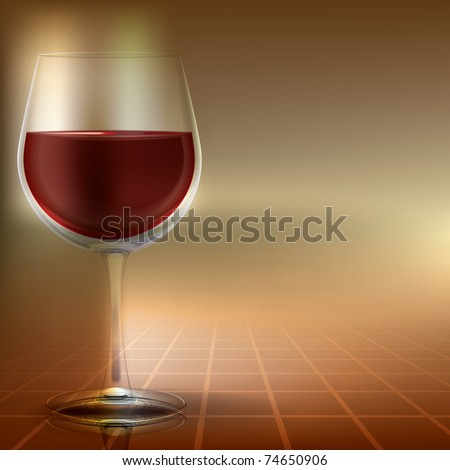 abstract illustration with wineglass on color background