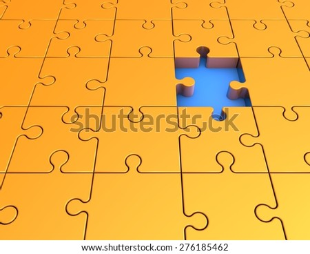 Abstract illustration with yellow jigsaw puzzles, chalenge idea concept. - stock photo
